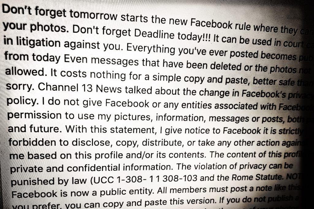 在Facebook出PO聲明Facebook Does Not Have My Permission To Share Photos 是否真的有法律效用? - Adman's Rants 廣告風涼話